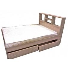 Двуспальная кровать с полками и ящиками