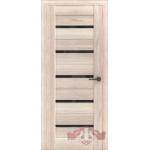 Межкомнатная дверь экошпон Л1ПГ стекло черное