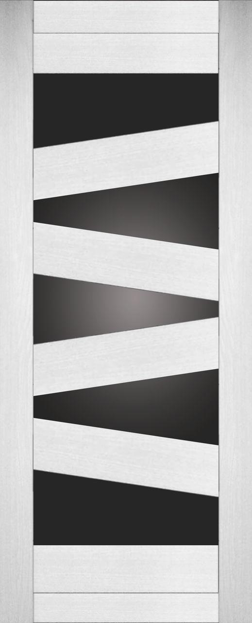 Межкомнатная дверь экошпон KC2 ясень белый со стеклом черный сатин