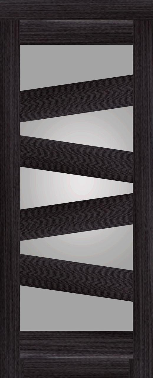Межкомнатная дверь экошпон KC2 венге со стеклом сатин белое