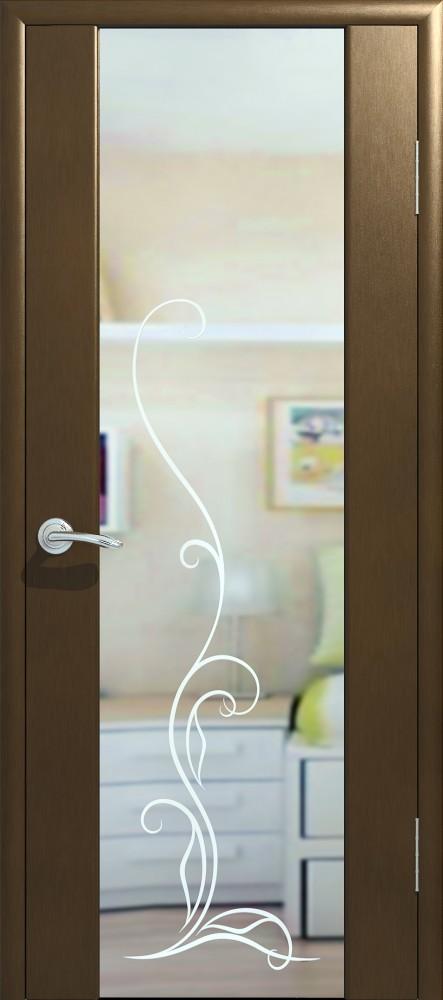 Межкомнатная дверь Экошпон Стиль 4 с зеркалом и рисунком