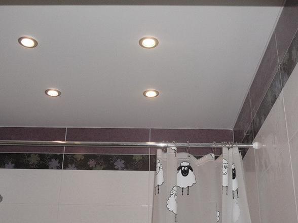 Матовый натяжной потолок в ванной купить в Челябинске недорого