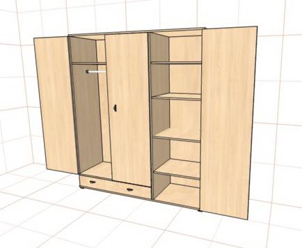 Шкаф распашной трехстворчатый с нижним ящиком